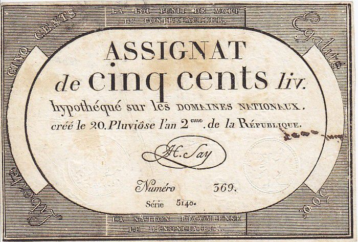 France 500 Livres 20 Pluviose An II (8.2.1794)