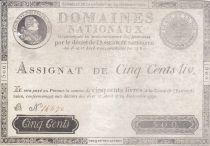 France 500 Livres Louis XVI - 29 Sept. 1790 - Serial B 14470