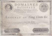 France 500 Livres Louis XVI - 29 Sept. 1790 - Serial C Sign. Poupet