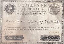 France 500 Livres Louis XVI - 29 Sept. 1790 - Serial E Sign. Poupet