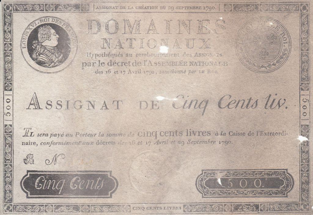 France 500 Livres Louis XVI - 29 Sept. 1790 - Série B 2e ex.