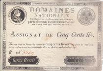 France 500 Livres Louis XVI - 29 Sept. 1790 - Série C Nº 5549