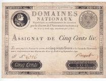 France 500 Livres Louis XVI - 29 Sept. 1790 - Série F Nº 6316 - TTB