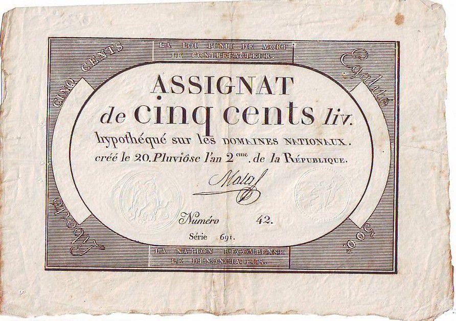 France 500 Livres Noir, uniface - 20 Pluviose An II