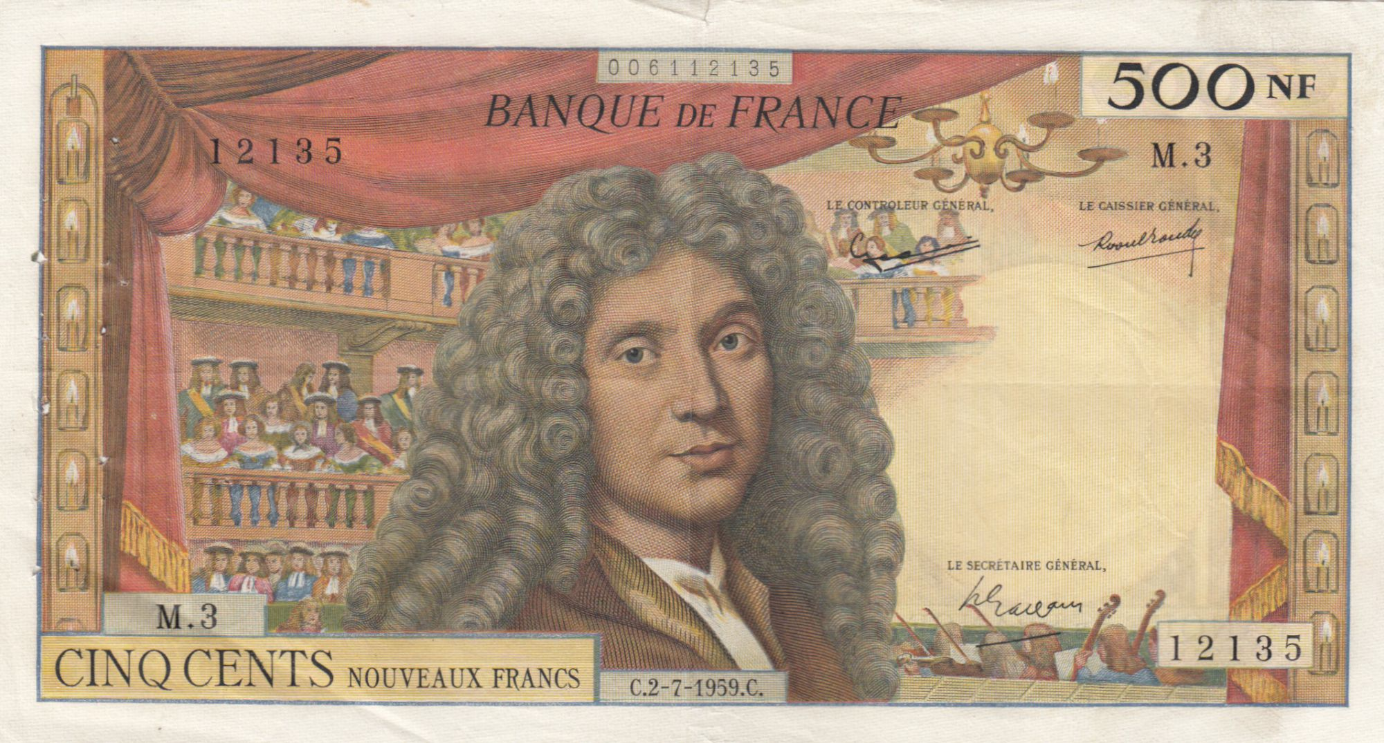 France 500 NF Moliere - 02-07-1959 Serial M.3 - NICE vf