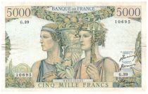 France 5000 Francs - 01-02-1951 Serial G.39 - F to VF