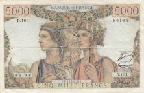 France 5000 Francs - 07-02-1952 Serial D.101 -VF - P. 131
