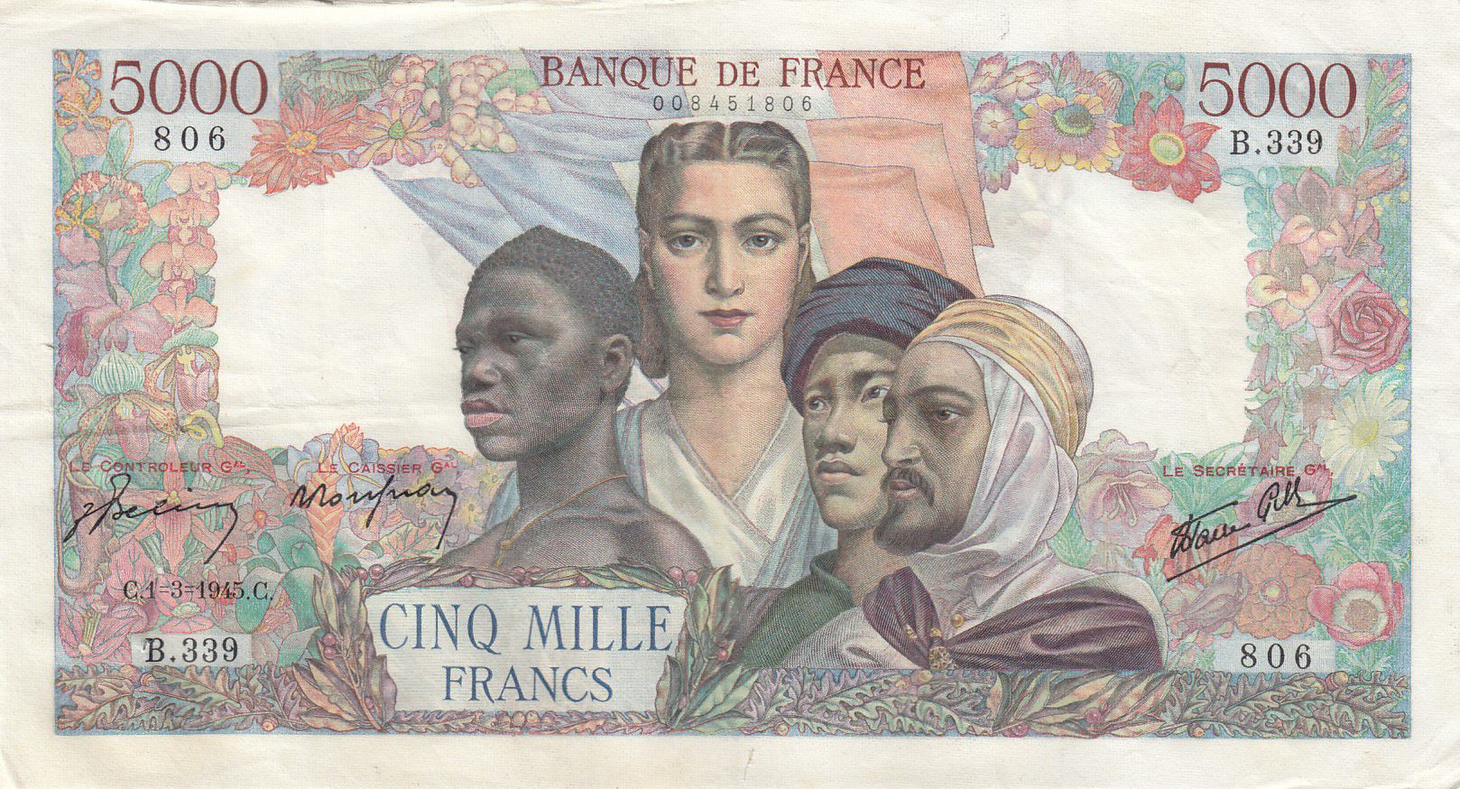 France 5000 Francs Empire Français - 01-03-1945 Série B.339 - TTB