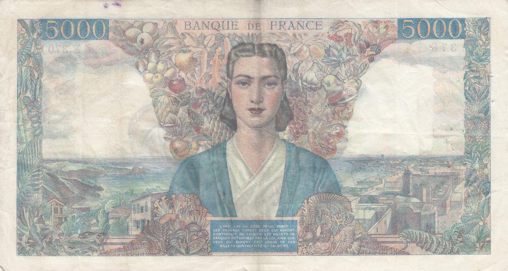 France 5000 Francs Empire Français - 01-03-1945 Série E.370- TTB