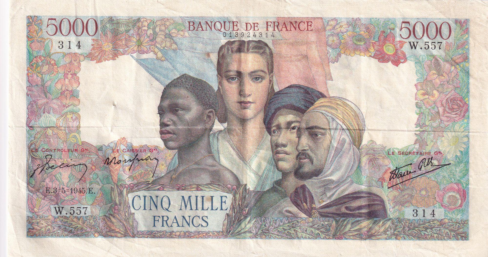 France 5000 Francs Empire Français - 03-05-1945 Série W.557 - TTB