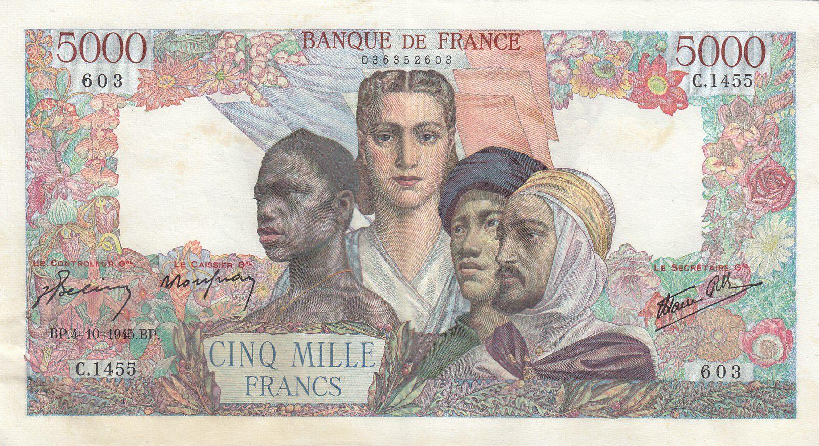 France 5000 Francs Empire Français - 04-10-1945 Série C.1455 - SUP