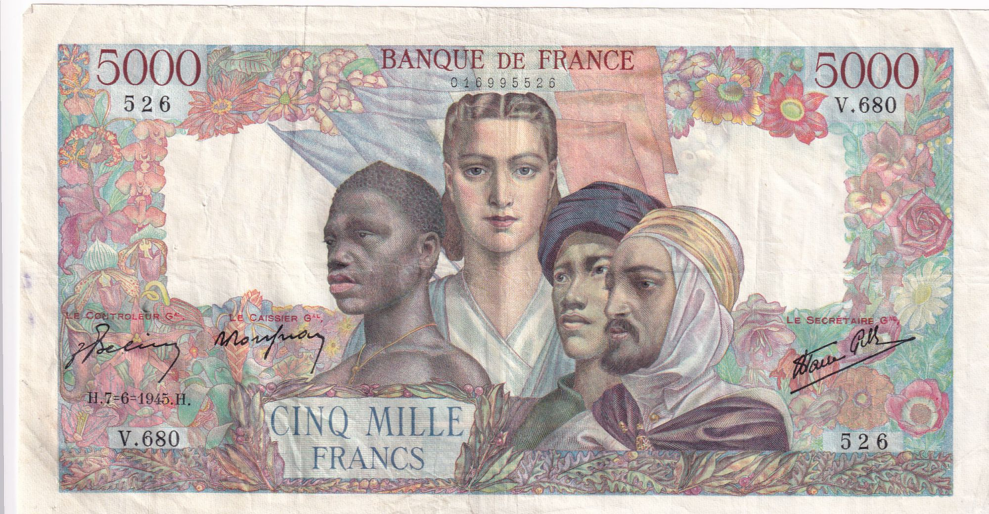 France 5000 Francs Empire Français - 07-06-1945 Série V.680 - PTTB