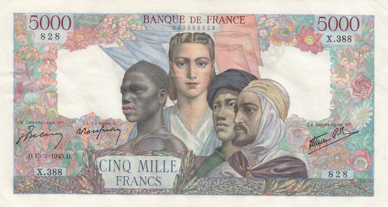 France 5000 Francs Empire Français - 15-03-1945 Série X.388 - SUP