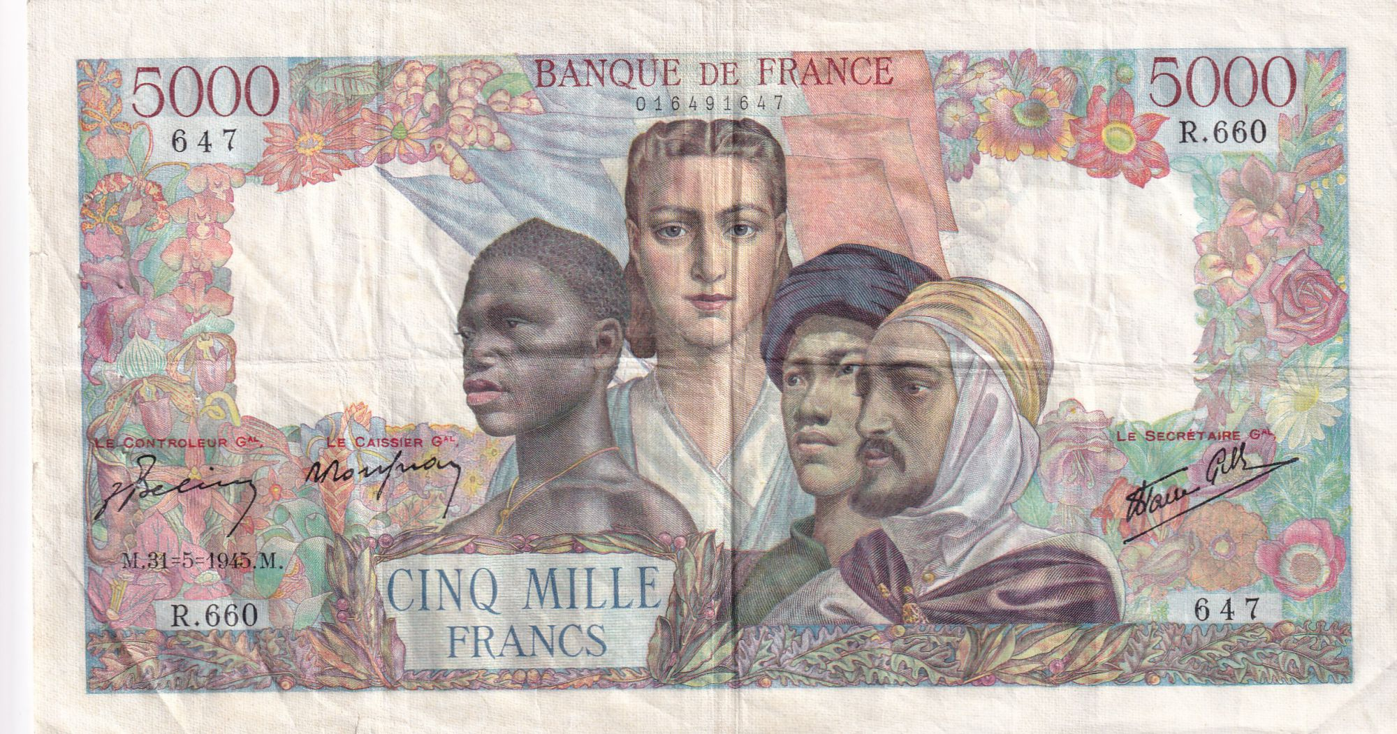 France 5000 Francs Empire Français - 31-05-1945 Série R.660 - TTB