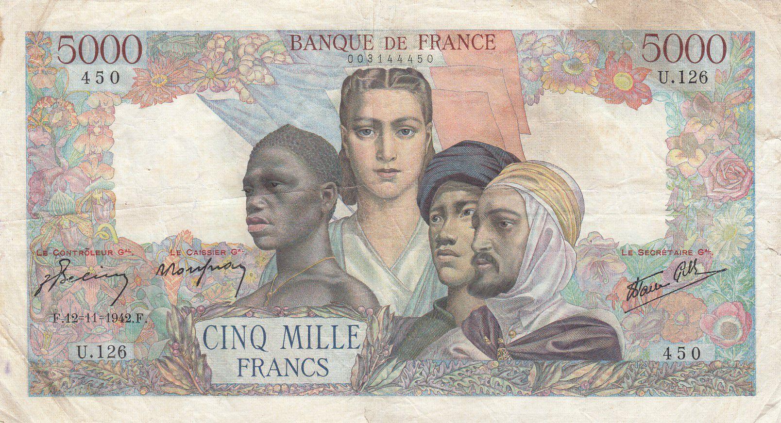 France 5000 Francs Empire Français 12-11-1942 Série U.126 - TB +