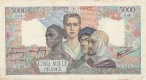 France 5000 Francs France and colonies - 09-07-1942 Serial U.60-222 - F to VF