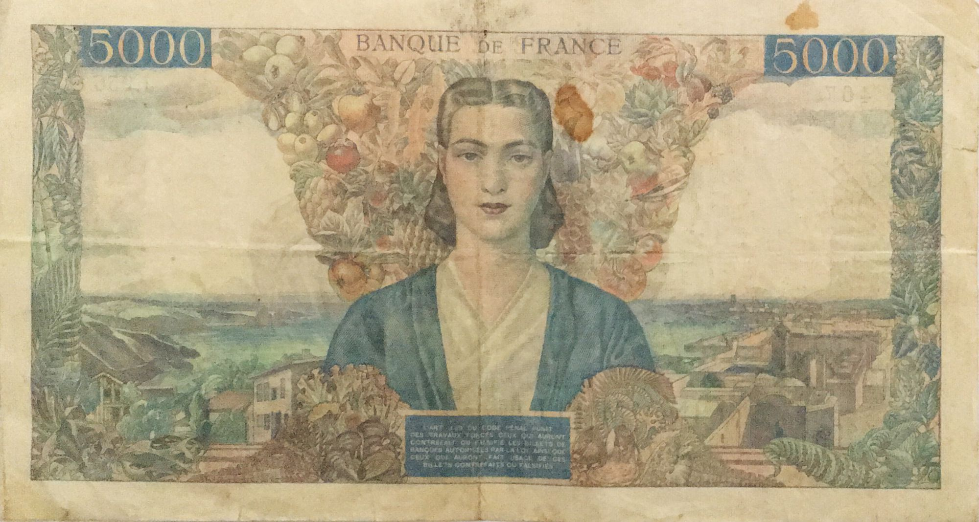 France 5000 Francs France and colonies - 23-08-1945 Serial J.956 - F