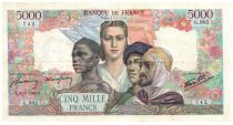 France 5000 Francs France and colonies - 30-08-1945 Serial G.982 - VF
