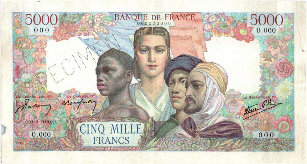 France 5000 Francs France and colonies - Specimen