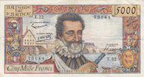 France 5000 Francs Henri IV - 03-10-1957 - Serial E.22