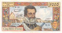 France 5000 Francs Henri IV - 06-03-1958 - Série W.54 - TB+