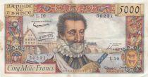 France 5000 Francs Henri IV - 06-06-1957 Serial L.20 - VF