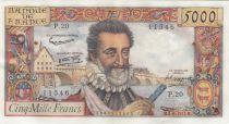 France 5000 Francs Henri IV - 06-06-1958 Serial P.20 -  XF / XF+