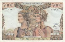 France 5000 Francs Sea and Countryside - 07-02-1952 Serial V.90