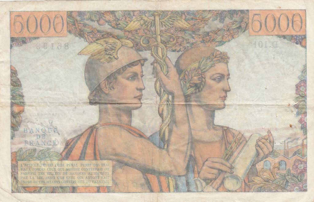 France 5000 Francs Terre et Mer - 07-02-1952 Série  D.101 - TTB