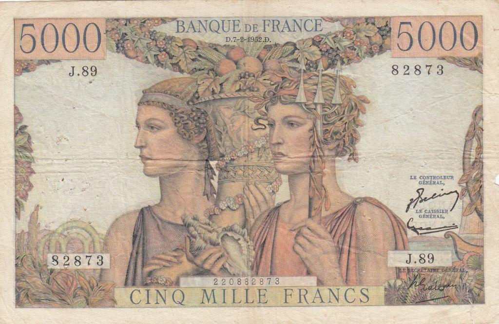 France 5000 Francs Terre et Mer - 07-02-1952 Série  J.89 - TB