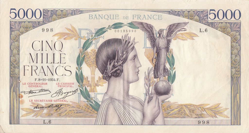 France 5000 Francs Victoire - 08-11-1934 Serial L.6