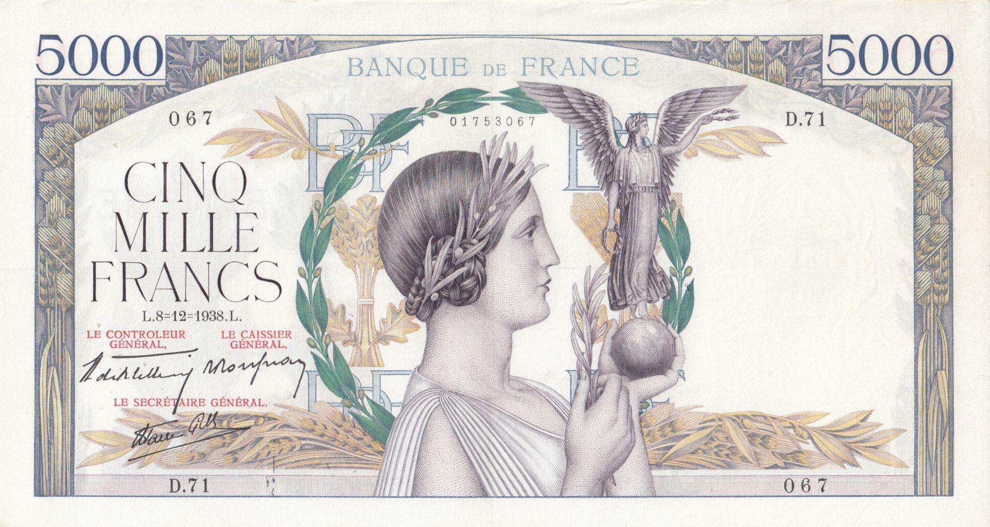 France 5000 Francs Victory - 08-12-1938 Serial D.71 - VF