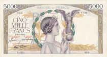 France 5000 Francs Victory - 18-03-1943 Serial V.1221 - XF to AU