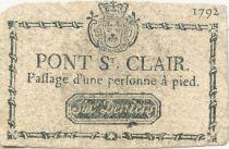 France 6 Deniers - Pont St Clair - Passage d\'une personne à pied - 1792 - TB