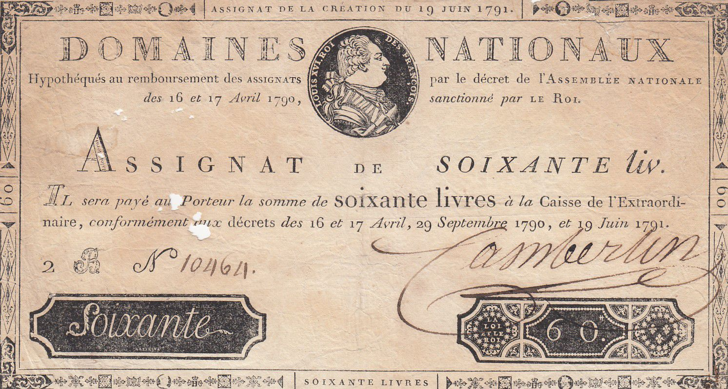 France 60 Livres Bust of Louis XVI - 19-06-1791 - Serial 2B - Sign. Camberlin - VG to F