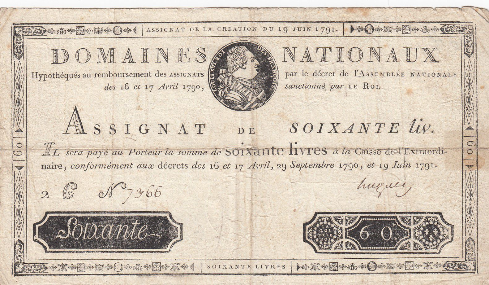 France 60 Livres Bust of Louis XVI - 19-06-1791 - Serial 2C - Sign. Hugues - F to VF