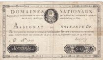 France 60 Livres Louis XVI - 19-06-1791 Série 2C - Sign. Hugues - PTTB