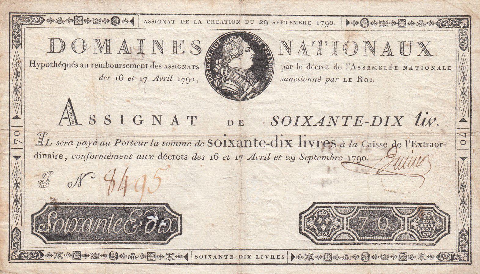 France 70 Livres Bust of Louis XVI - 29-09-1790 - Serial J - Sign. Jullien - F to VF