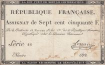 France 750 Francs 18 Nivose An 3 - 1795  - Serial 16 - VF - P. A.79