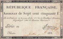 France 750 Francs 18 Nivose An 3 - 1795  - Serial 16 - VF - P. A.79