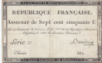France 750 Francs 18 Nivose An 3 - 1795  - Serial 37 - Fine - P. A.79