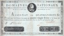 France 80 Livres -  29 September - 1790 - Sign. Pinard - A. N° 37419