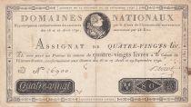 France 80 Livres Bust of Louis XVI - 29-09-1790 - Serial D - Sign. Boizot - VF