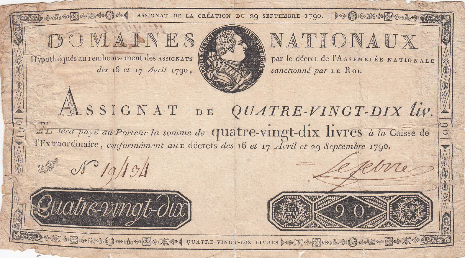 France 90 Livres Bust of Louis XVI - 29-09-1790 - Serial F - Sign. Lefebvre - VG to F