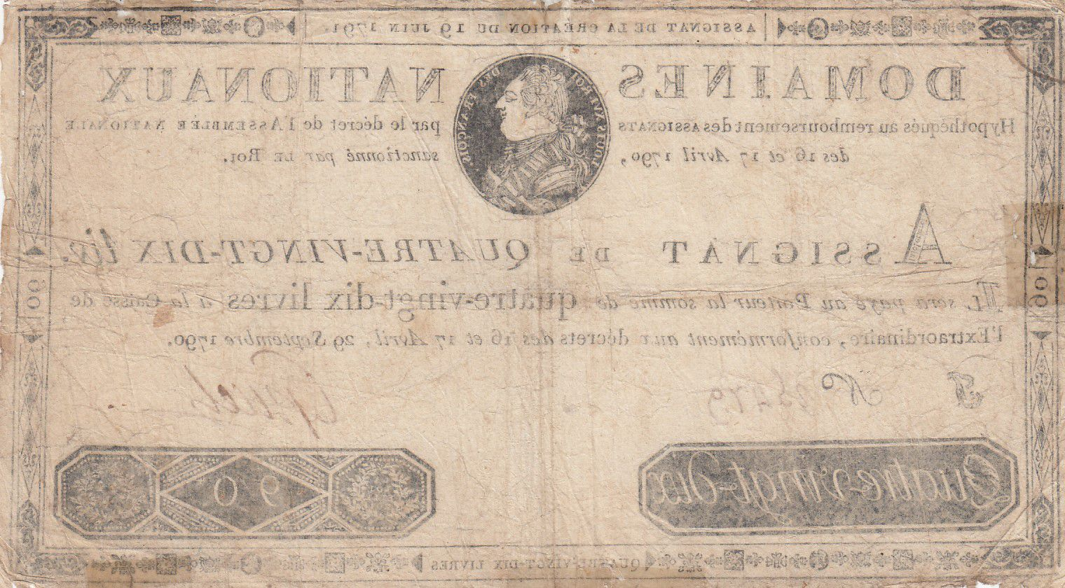 France 90 Livres Bust of Louis XVI - Fake assignat - 19-06-1791 - VG to F