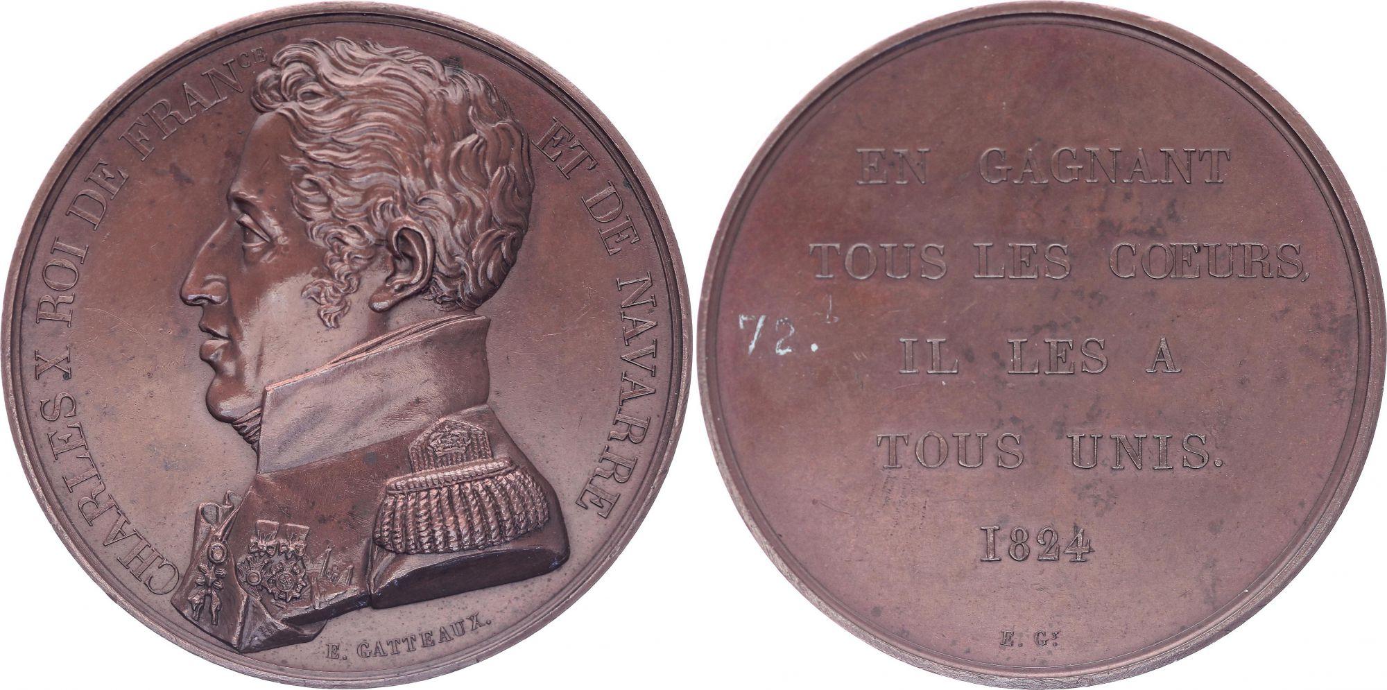 France Charles X - Buste en uniforme - 1824