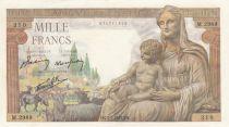 France Demeter 1000 Francs - 07-01-1943 - Serial M.2989 - UNC
