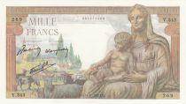 France Demeter 1000 Francs - 11-06-1942 - Serial V.343 - UNC