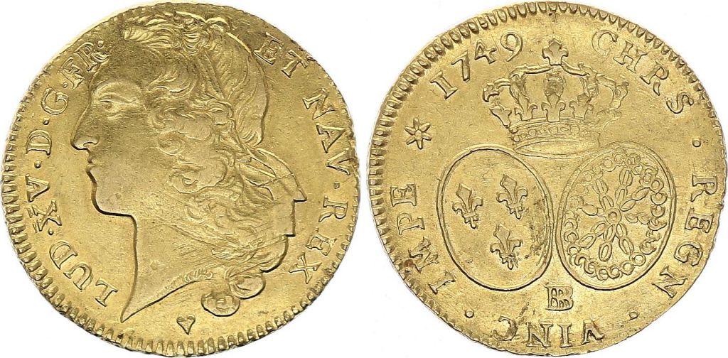France Double Louis d\'or, Louis XV au Bandeau - 1749 BB Strasbourg