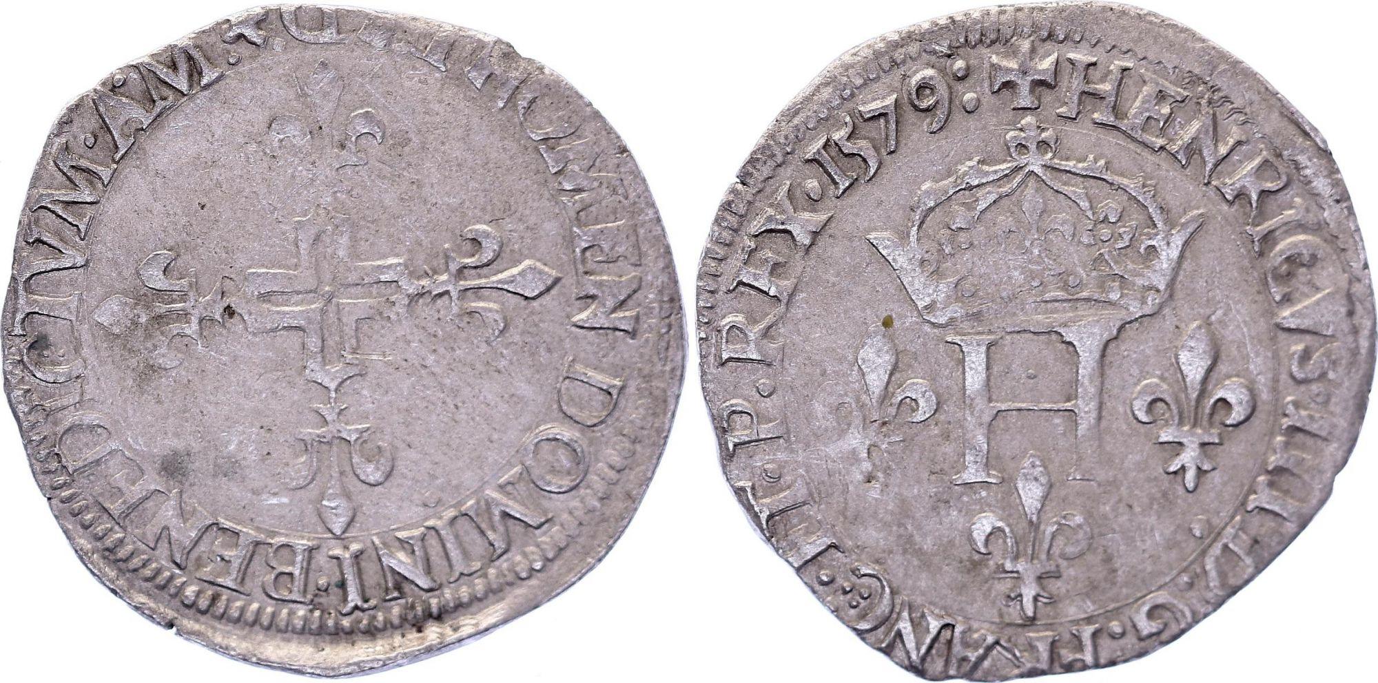 France Double sol parisis - Argent - 1579 D Lyon